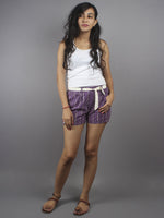Purple Hand Block Printed Shorts With Belt -S5296034