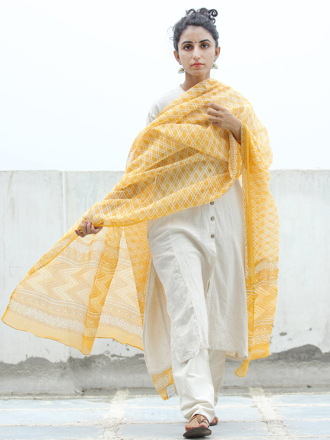 Yellow White Kota Doria Cotton Hand Block Printed Dupatta  - D04170352