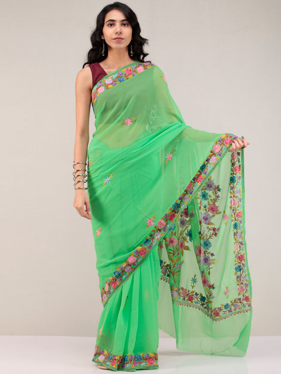 Green Aari Embroidered Georgette Saree From Kashmir - S031704674