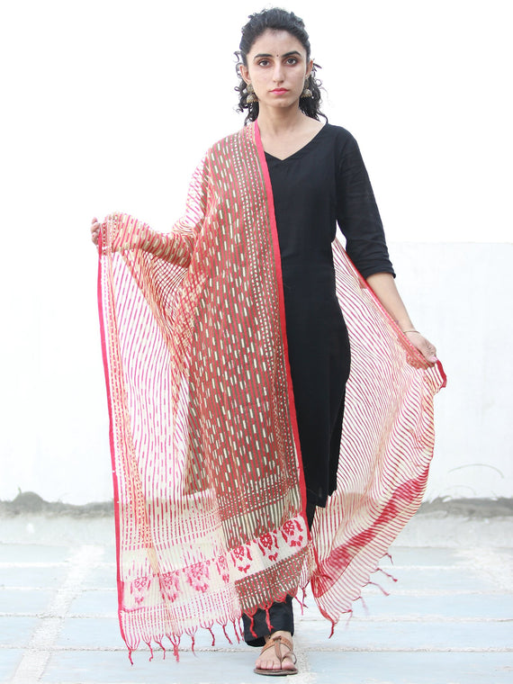Red Ivory Artificial Cotton Silk Hand Block Printed Dupatta  - D04170500