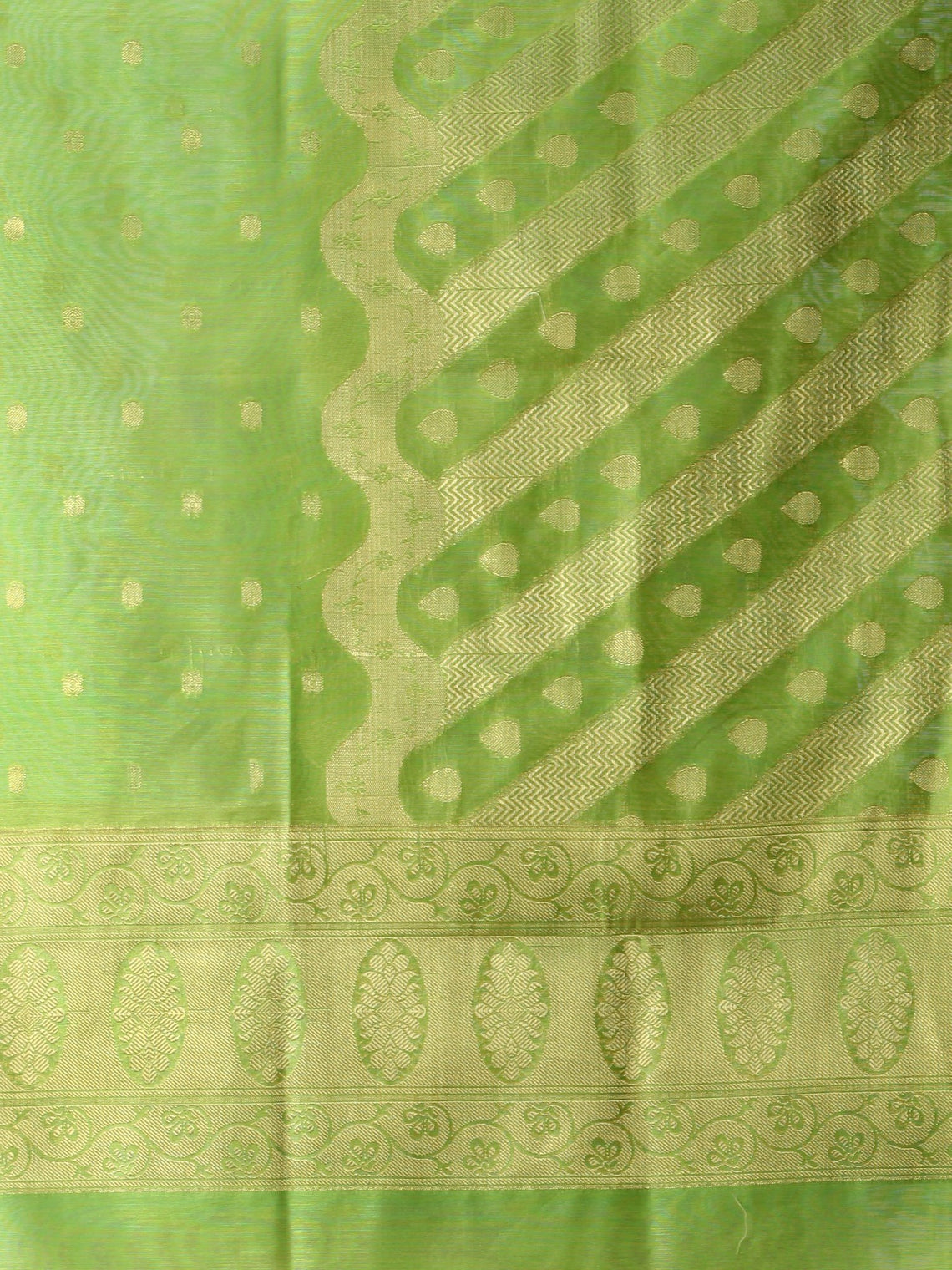 Banarasi Chanderi Dupatta With Zari Work - Light Green & Gold - D04170842
