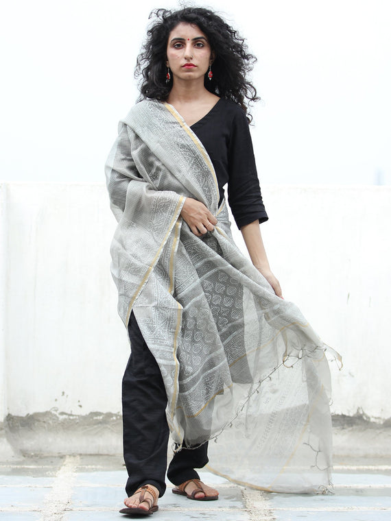 Grey White Kota Silk Hand Block Painted Dupatta - D04170446