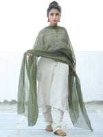 Green Black Georgette Hand Block Printed Dupatta  - D04170682