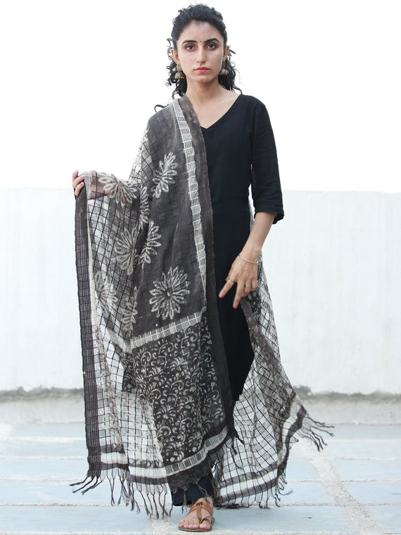 Black Ivory Artificial Cotton Silk Hand Block Printed Dupatta  - D04170504
