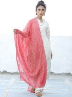 Red Lilac Georgette Hand Block Printed Dupatta  - D04170681