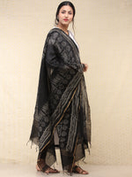 Black Grey Chanderi Hand Brush Painted Dupatta - D04170740