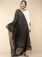 Black Brown Chanderi Hand Block Printed Dupatta - D04170741
