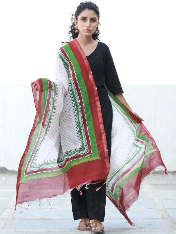 White Red Green Chanderi Hand Block Printed Dupatta - D04170502
