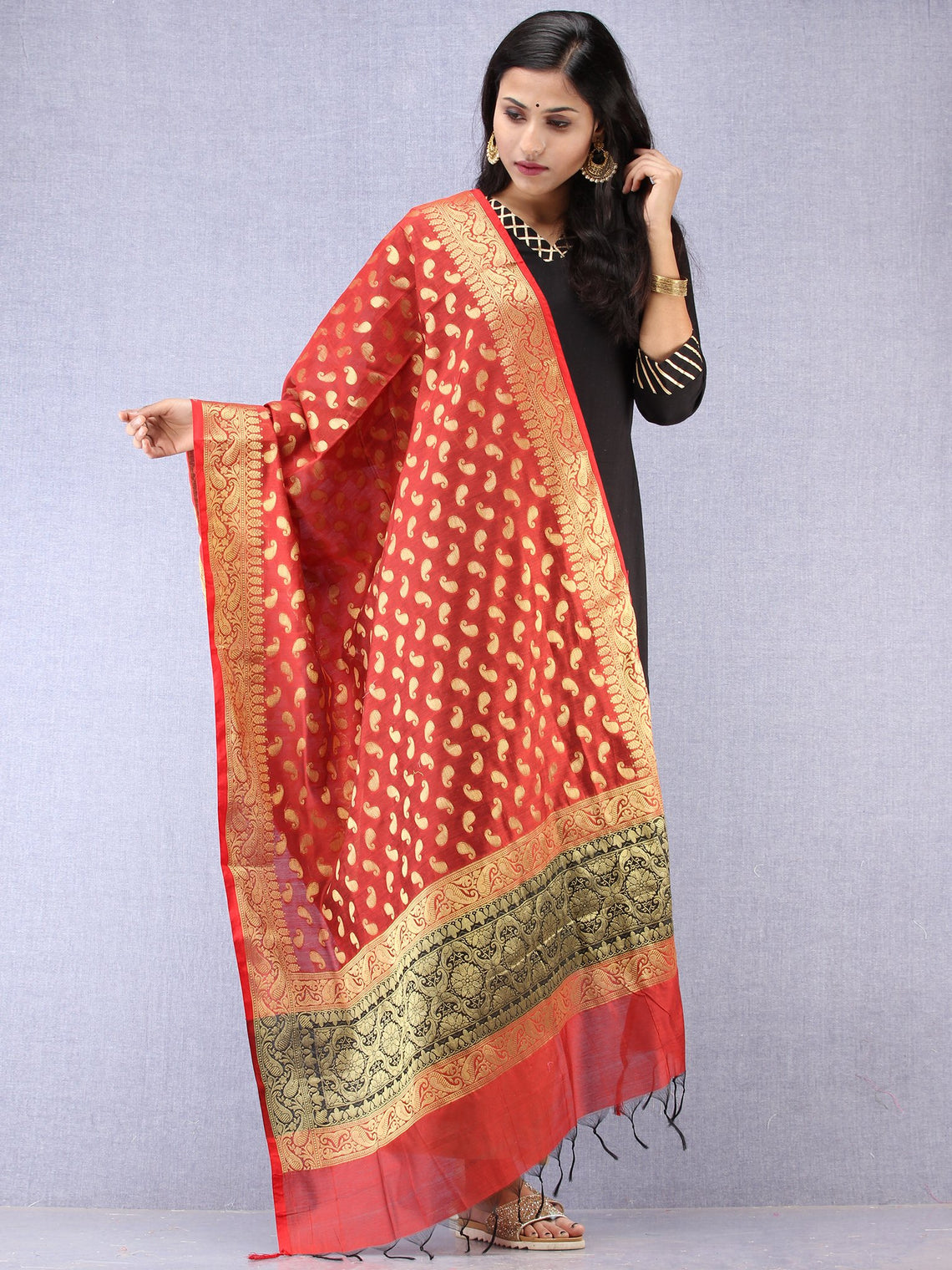 Banarasi Chanderi Dupatta With Zari Work - Red & Gold - D04170846