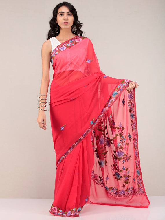 Red Aari Embroidered Georgette Saree From Kashmir - S031704678