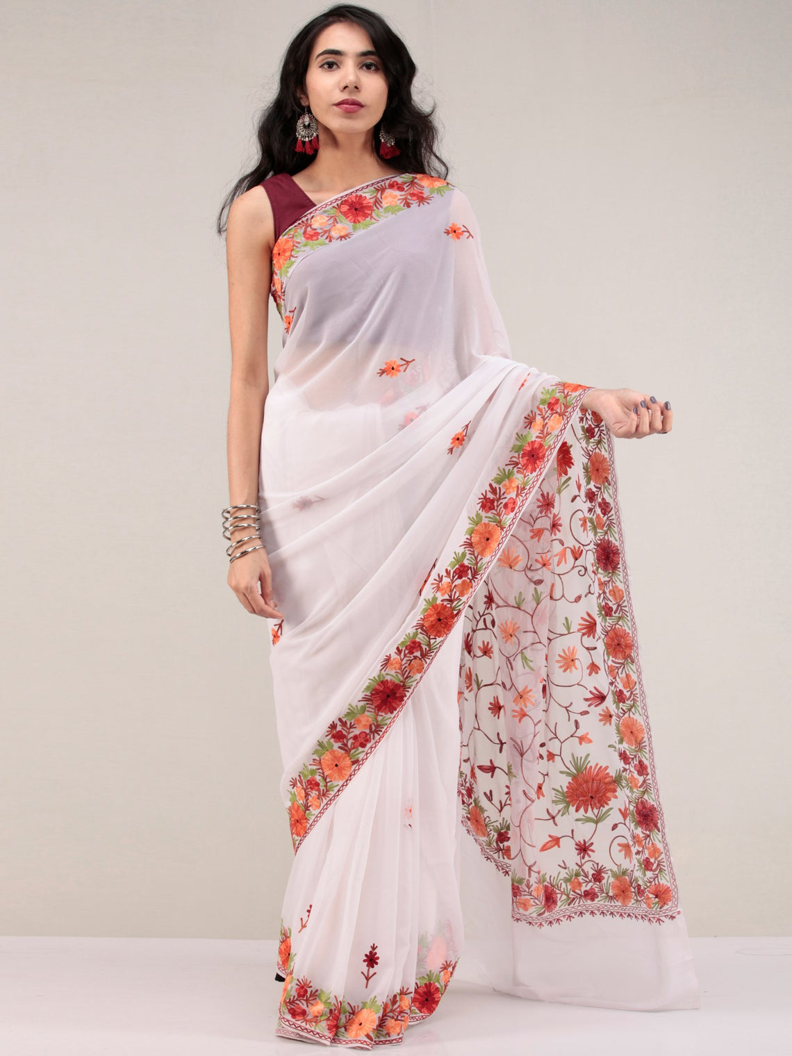 White Aari Embroidered Georgette Saree From Kashmir - S031704627