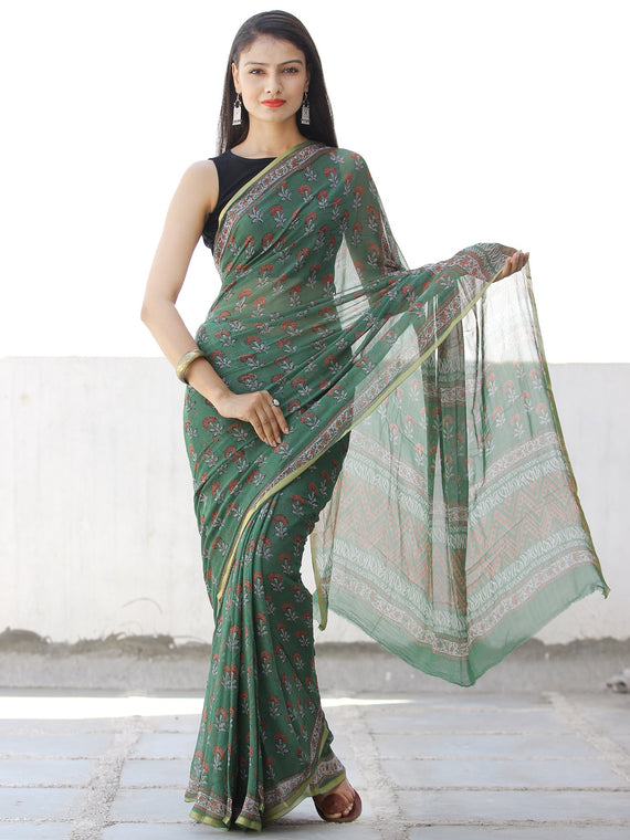 Green Coral Hand Block Printed Chiffon Saree with Zari Border - S031703959