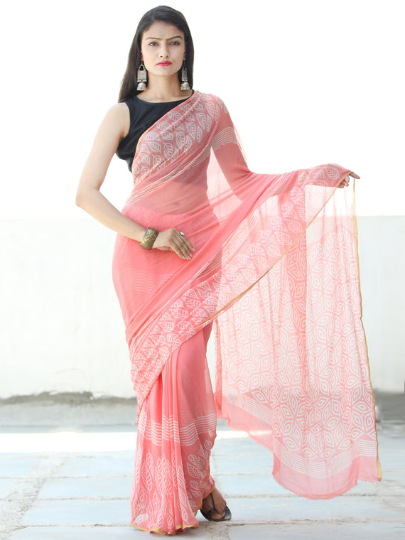 Peach White  Hand Block Printed Chiffon Saree with Zari Border - S031703915
