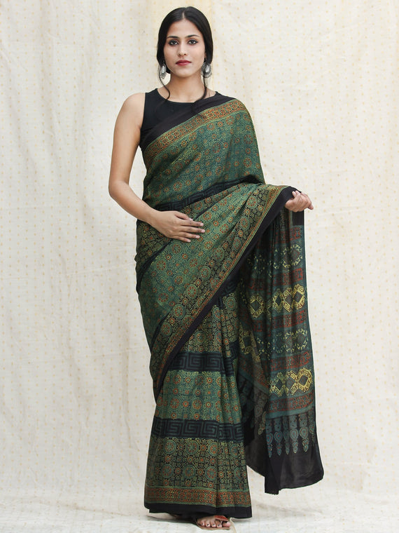 Green Red Black Ajrakh Hand Block Printed Modal Silk Saree - S031704119