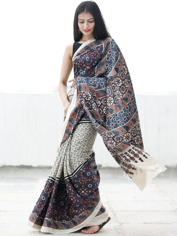Off White Black Indigo Maroon Ajrakh Hand Block Printed Modal Silk Saree in Natural Colors - S031703698