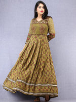 Naaz Pareesa - Hand Block Mughal Printed Long Cotton Embroidered Dress - DS102F001