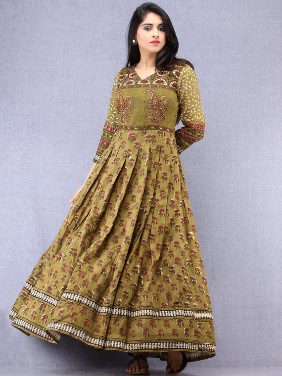 Pareesa - Hand Block Mughal Printed Long Cotton Embroidered Dress - DS102F001
