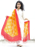 Yellow & Red Double Ikat Handwoven Pochampally Cotton Dupatta -  D04170301
