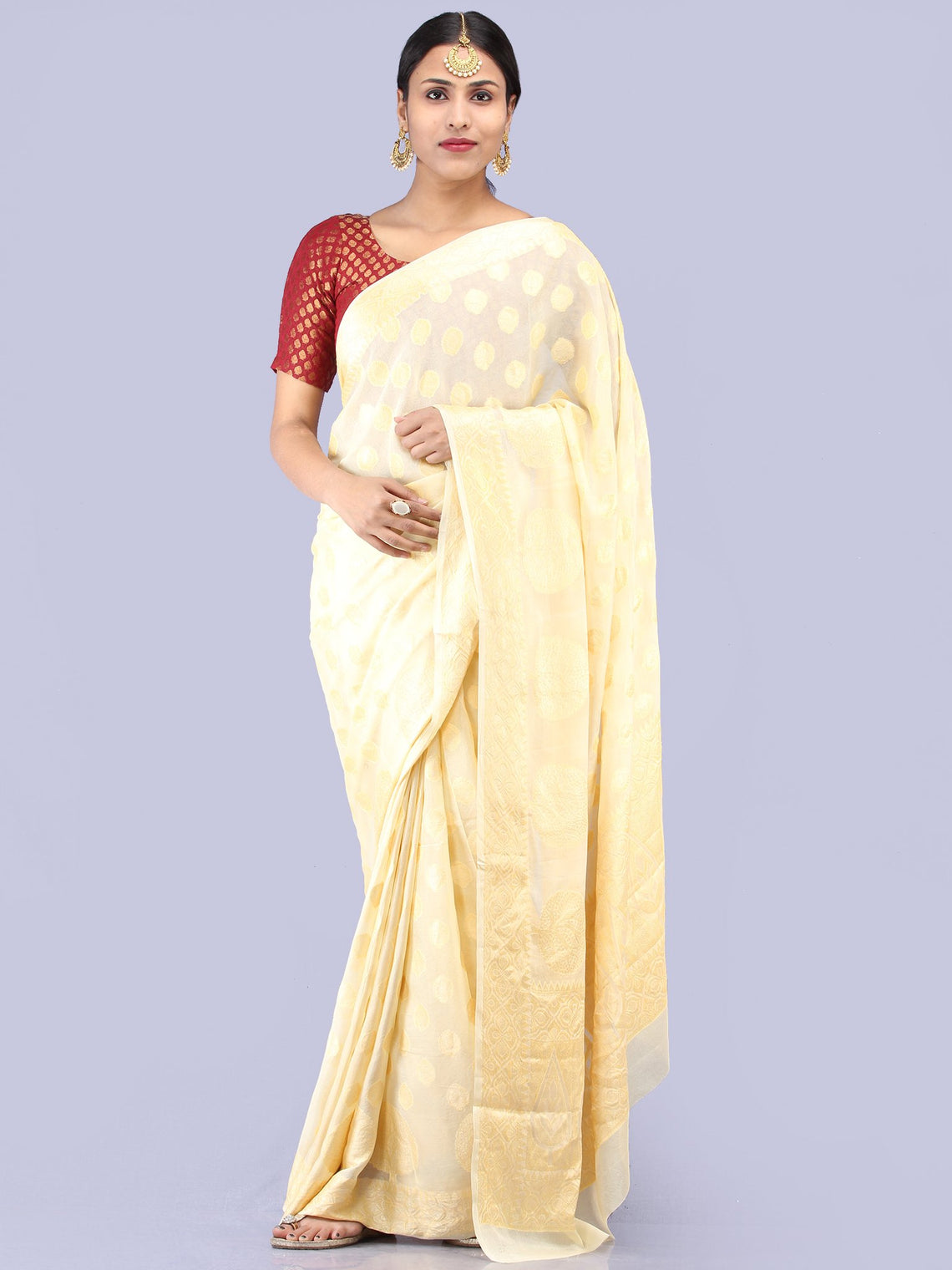 Banarasee Pure Chiffon Saree With Zari Work - Ivory Gold - S031704292