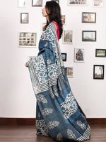 Indigo White Hand Block Printed Cotton Mul Saree - S031703484