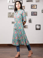 Green Pink Yellow Hand Block Printed Kurta - K82F1486