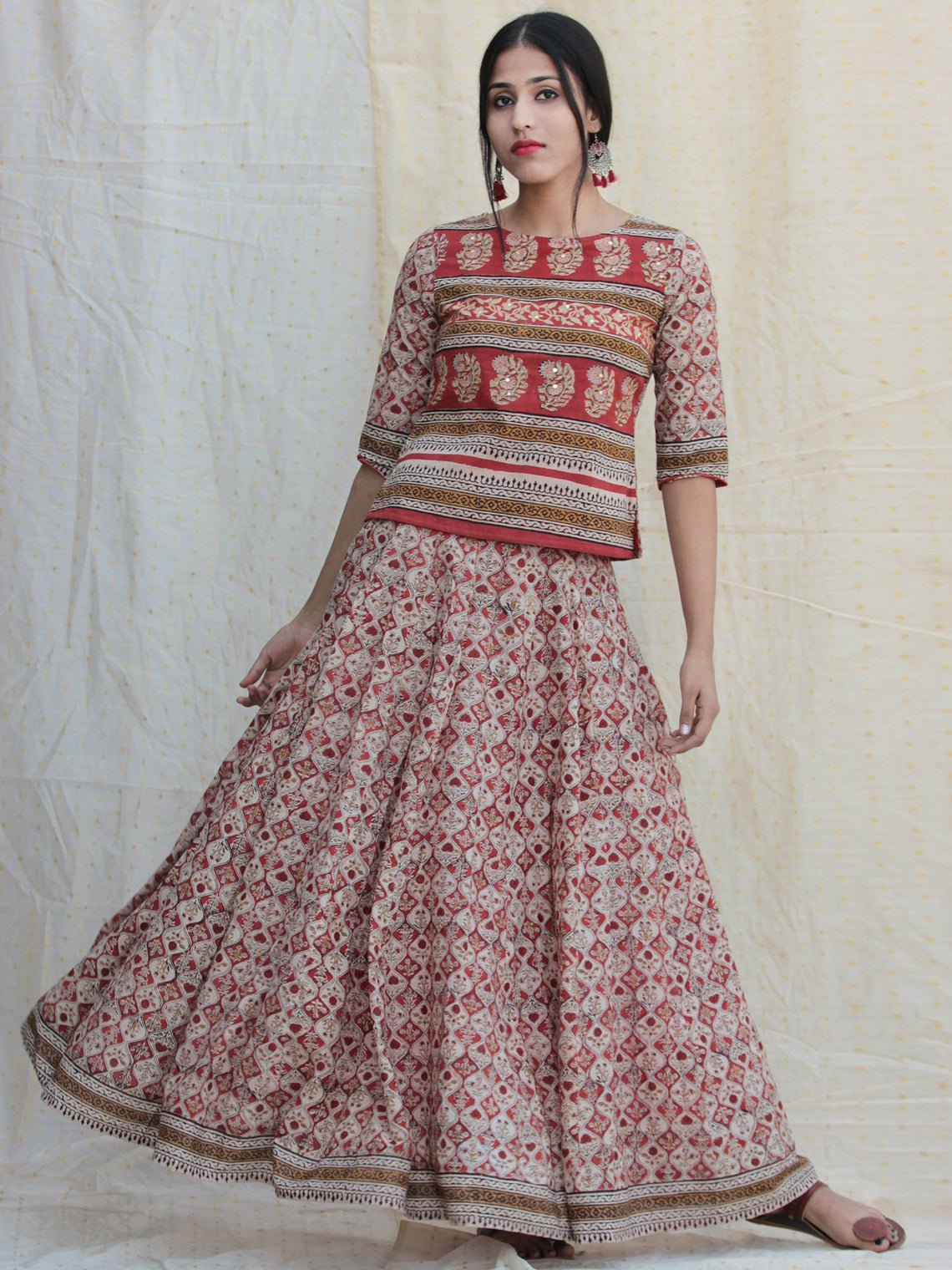 Naaz Rooh - Hand Block Printed Long Top And Skirt Dress - DS78F001