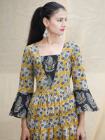 YELLOW IMPRINTS - Hand Block Printed Cotton Long Dress  - D142F1815