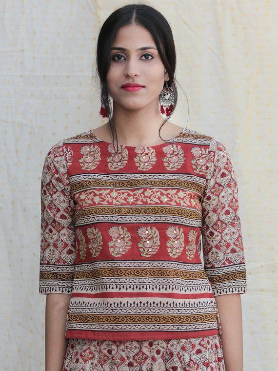 Rooh - Hand Block Printed Long Top And Skirt Dress - DS78F001