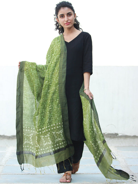 Olive Green Cotton Silk Hand Block Printed Dupatta  - D04170506