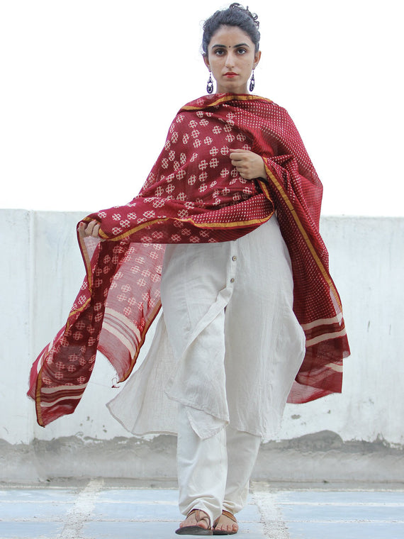 Cherry Red Ivory Chanderi Silk Hand Block Printed Dupatta - D04170355