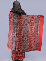 Crimson Red Indigo Ivory Ajrakh Hand Block Printed Modal Silk Saree - S031704226