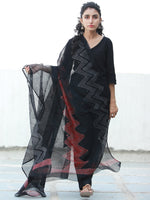 Black Red  Kota Doria Cotton Hand Block Printed Dupatta  - D04170507