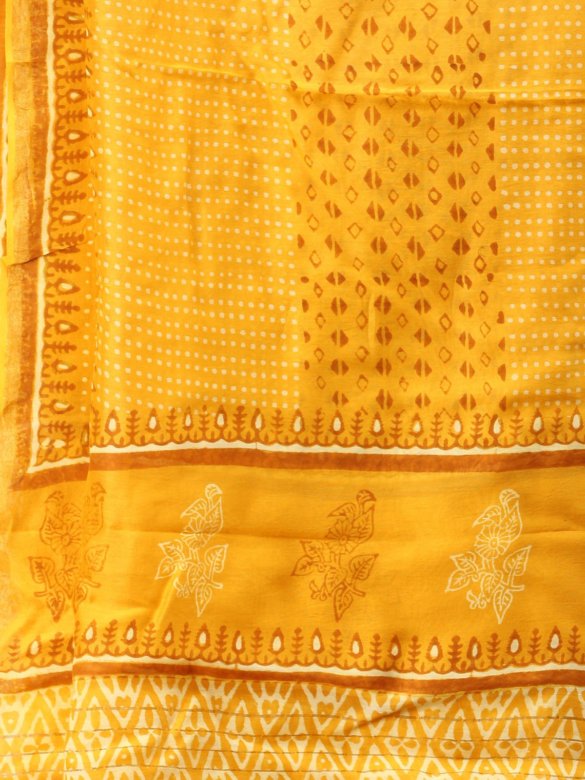 Bright Yellow White Chanderi Hand Brush Painted Dupatta - D04170746