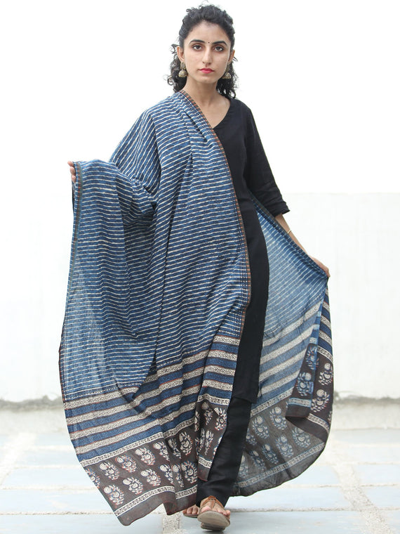 Indigo Ivory Rust Black Handloom Cotton Hand Block Printed Dupatta - D04170512