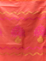 Banarasi Chanderi Dupatta With Resham Work - Peach Pink & Gold - D04170853