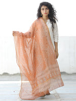 Light Orange Ivory Kota Silk Hand Block Printed Dupatta - D04170599