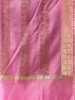 Banarasi Chanderi Dupatta With Zari Work - Pink & Gold - D04170854