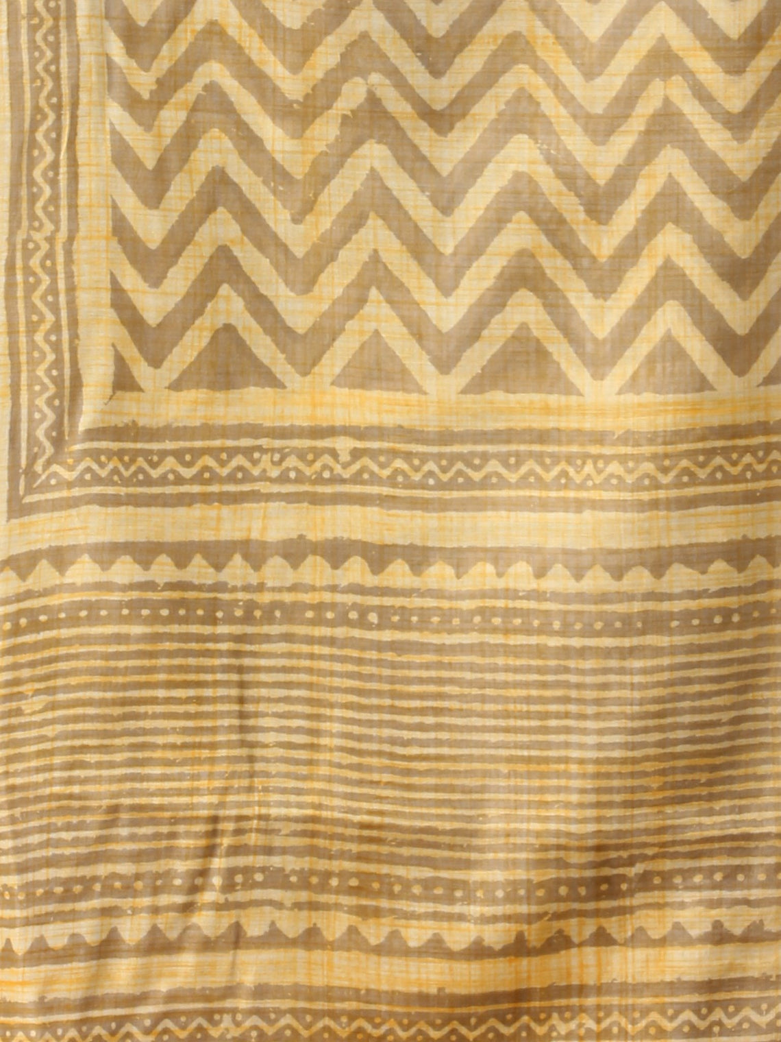 Kashish Yellow Chanderi Hand Block Printed Dupatta - D04170750