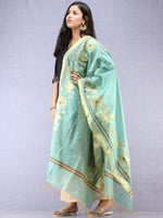 Banarasi Chanderi Dupatta With Resham Work - Sea Green & Gold - D04170855