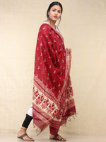 Maroon Red Chanderi Hand Block Printed Dupatta - D04170753