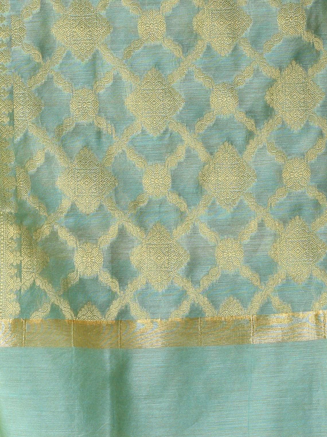 Banarasi Chanderi Dupatta With Zari Work - Sea Green & Gold - D04170856