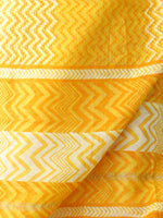 Bright Yellow Ivory Chanderi Hand Block Printed Dupatta - D04170601
