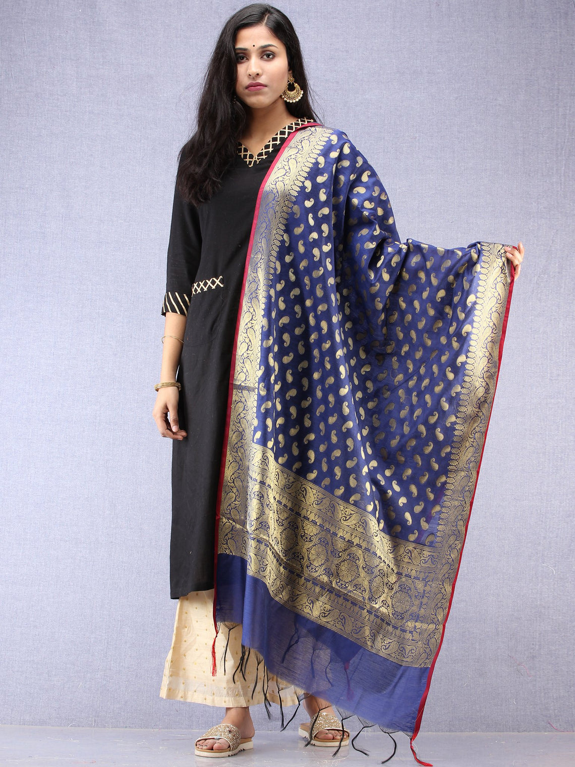 Banarasi Chanderi Dupatta With Resham Work - Navy Blue & Gold - D04170857