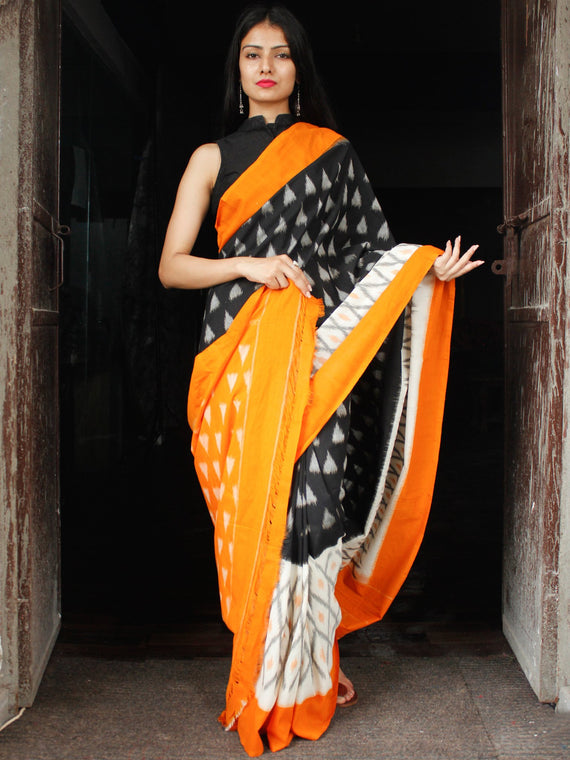 Black Grey Orange White Grey Ikat Handwoven Cotton Saree - S031703985