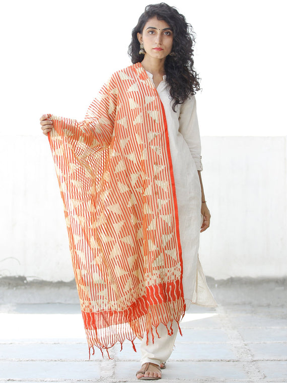 Orange Ivory Cotton Art Silk Hand Block Printed Dupatta  - D04170539