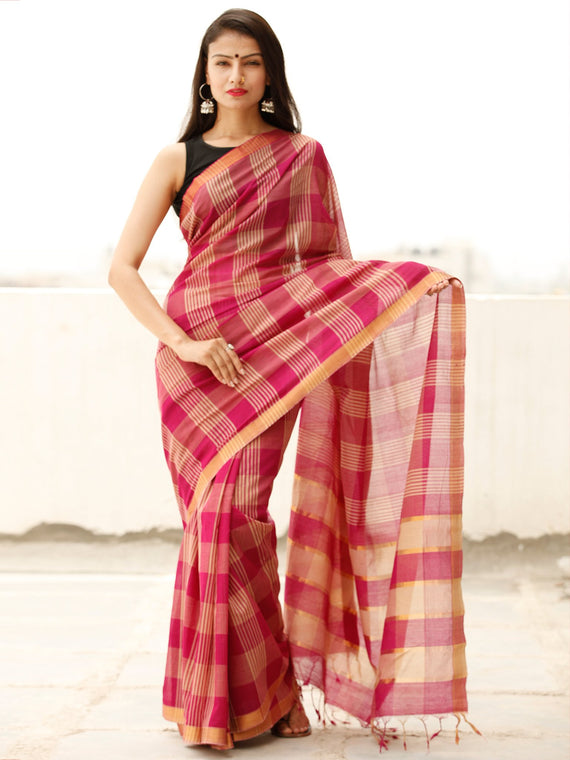 Deep Pink Beige Handloom Mangalagiri Cotton Saree With Zari Border - S031703855