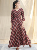 SYMMETRICALLY ASYMMETRIC -  Hand Block Printed Long Cotton Dress With Front Opening  - D79F1733