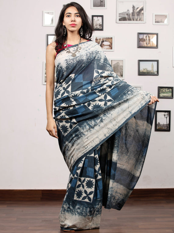 Indigo White Hand Block Printed Cotton Mul Saree - S031703485