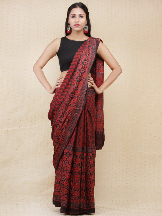 Crimson Red Black Ajrakh Hand Block Printed Modal Silk Saree - S031704155