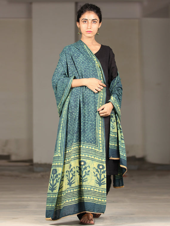 Deep Indigo Green Cotton Hand Block Printed Dupatta With Mirror Work  - D04170400
